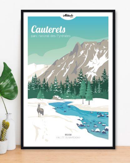 Affiche Cauterets Vallée du Marcadau Parc National des Pyrénées