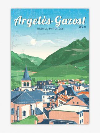 Plaque métal vintage Argelès-Gazost Pyrénées