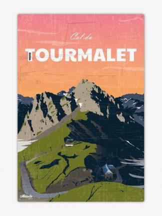 Plaque métal vintage Col du Tourmalet Pyrénées