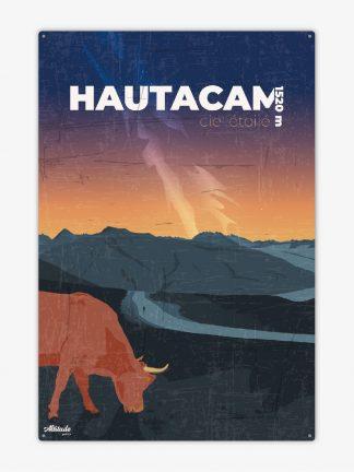 Plaque métal vintage Hautacam Pyrénées