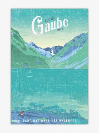 Plaque métal vintage Lac de Gaube Pyrénées