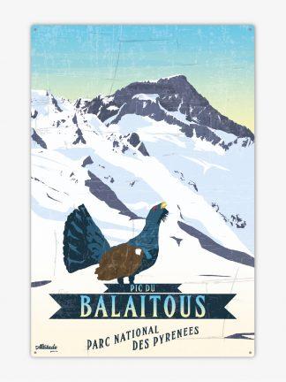 Plaque métal vintage Pic du Balaïtous Parc National des Pyrénées