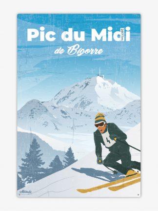 Plaque métal vintage Pic du Midi de Bigorre Pyrénées