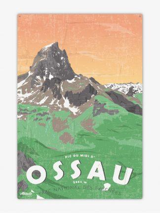 Plaque métal vintage Pic du Midi d'Ossau Pyrénées