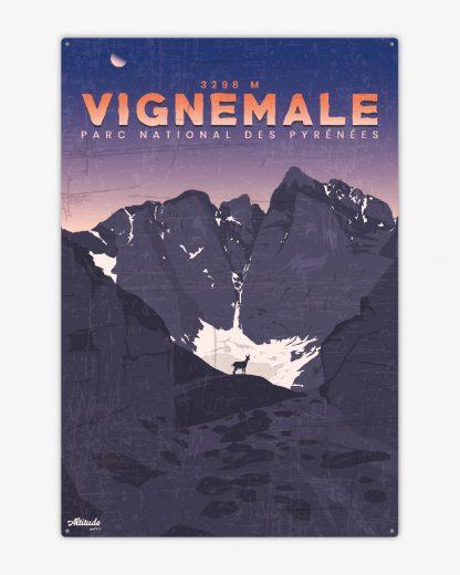 Plaque métal vintage Vignemale Pyrénées